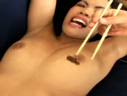 Dark haired slutty dark brown Asia De Ville with small boobs and wet wazoo teases filthy pornstars Antonio Ross, Renato and Tony before having amazing kinky oral session with them.