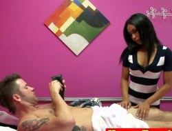 Real oriental massage therapist jerking dick