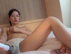 Asian hotties toying puss